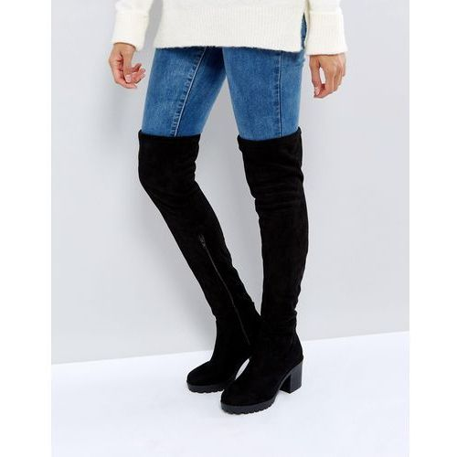 New Look Chunky Track Sole Over the Knee Boot - Black, kolor czarny