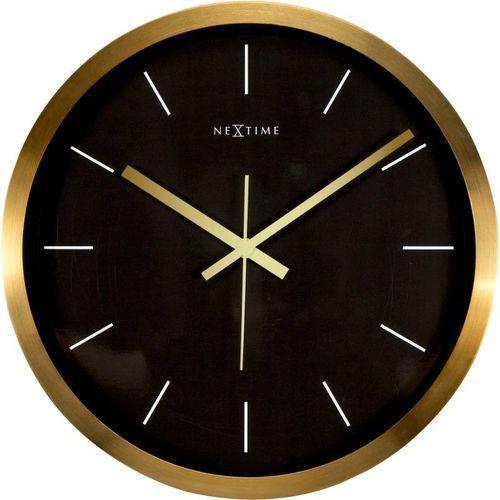 Nextime - Zegar ścienny Stripe - czarny - 44 cm, kolor czarny