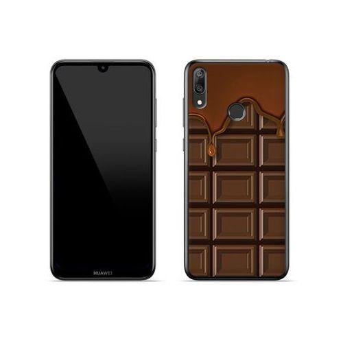 Huawei Y7 (2019) - etui na telefon Fantastic Case - tabliczka czekolady, kolor brązowy
