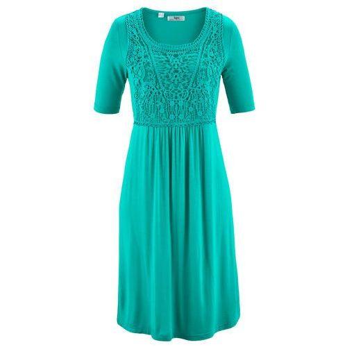 Bonprix Sukienka z koronkową wstawką, krótki rękaw szmaragdowy