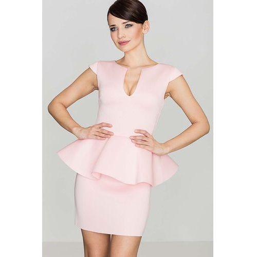 Różowa Elegancka Sukienka z Baskinką z Rozcięciem przy Dekolcie, kolor różowy
