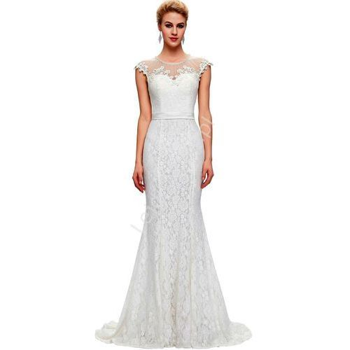 Długa biała suknia ślubna z perłami w stylu retro | suknia slubna vintage z perłami i gipiurą z kategorii Suknie ślubne