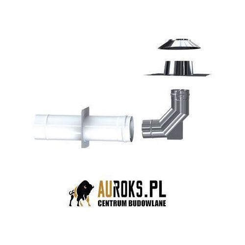 Mk mkps invest pakiet w szacht: rura malowana, rozeta ścienna malowana, kolano z podparciem, płyta dachowa, kołnierz przeciwdeszczowy 80/125 mm marki Mk żary