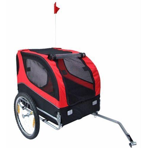 Vidaxl przyczepka rowerowa dla psa lassie, czerwona