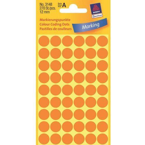 Kółka samoprzylepne  3148 12mm/270szt. pomarańczowe marki Avery zweckform
