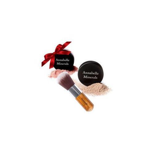 Prezent: podkład kryjący 4g + róż 4g + pędzel kabuki marki Annabelle minerals