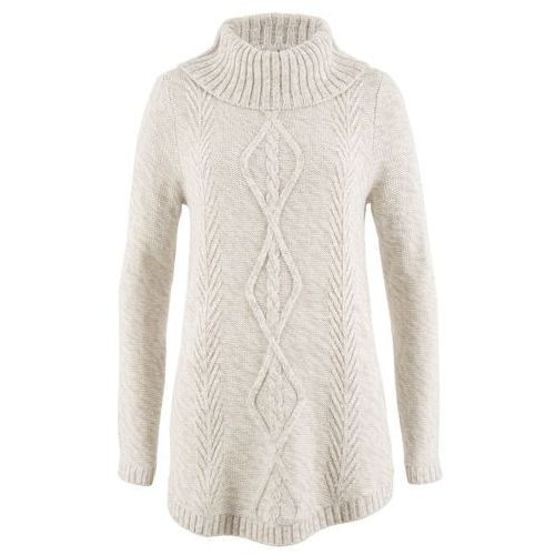 Sweter poncho, długi rękaw bonprix biel wełny melanż, w 4 rozmiarach