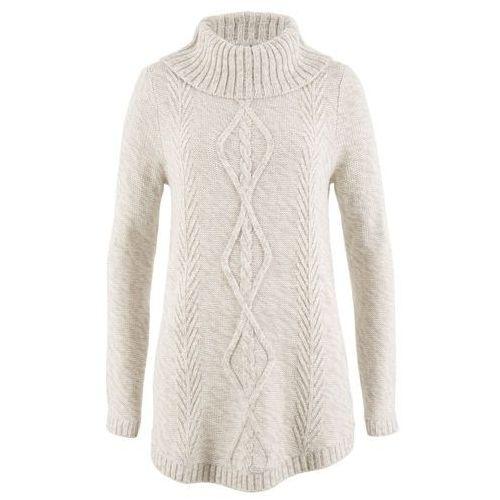 Sweter poncho, długi rękaw bonprix biel wełny melanż, w 6 rozmiarach