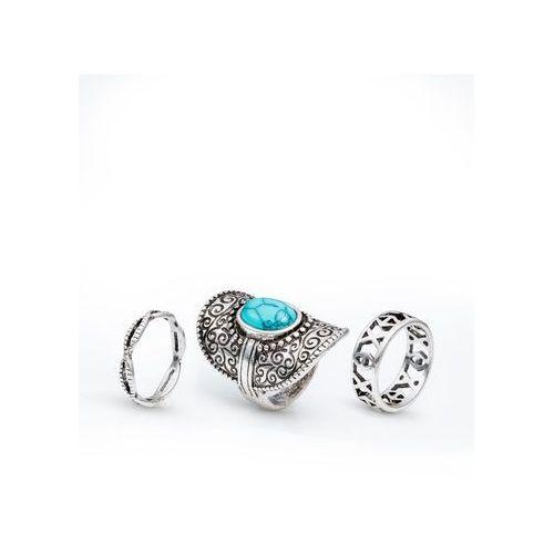 Komplet 3 pierścionków boho kolor srebrny antyczny - turkusowy marki Bonprix