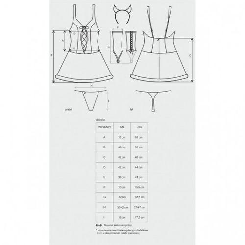 Diabella kostium 4-częściowy L/XL