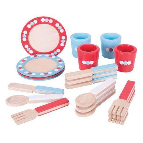 Bigjigs toys Zestaw obiadowy do zabawy dla dzieci - 20 elementów
