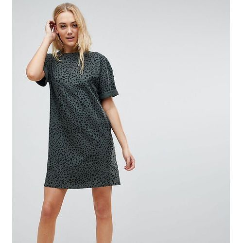 ultimate t-shirt dress with rolled sleeves in leopard print - multi, Asos tall