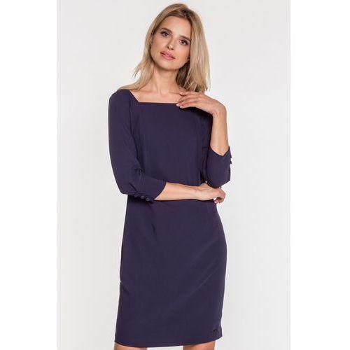 Granatowa sukienka w szyfonową wstawką - EMOI