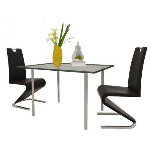 Vidaxl Krzesła wspornikowe do jadalni, 2 szt., sztuczna skóra, czarne