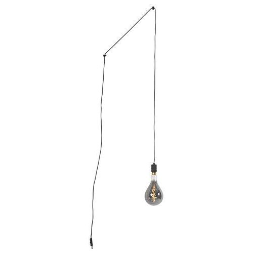 Qazqa Lampa wisząca czarna z wtyczką wraz z ściemnialną lampą a165 - cavalux