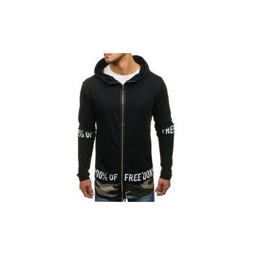 Długa bluza męska z kapturem rozpinana czarna Denley 171407, kolor czarny