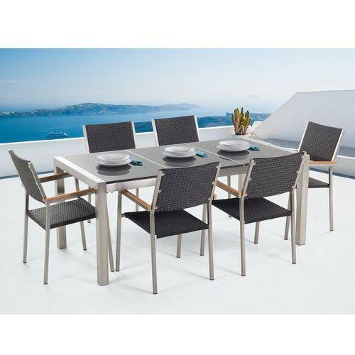 Beliani Stół granitowy szary polerowany 180 cm z 6 rattanowymi krzesłami - grosseto
