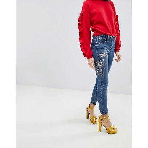 New Look Sasha Floral Embellished Skinny Jean - Blue