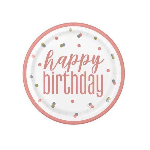 Talerzyki urodzinowe różowe złoto Happy Birthday - 23 cm - 8 szt. (0011179848928)