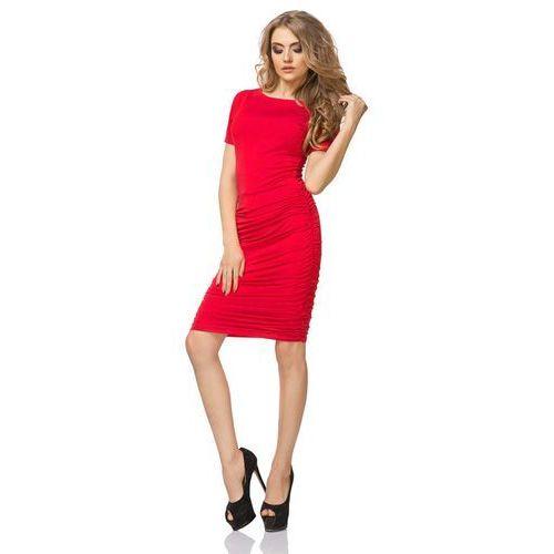 Czerwona sukienka przed kolano z marszczeniami, Tessita, 36-46