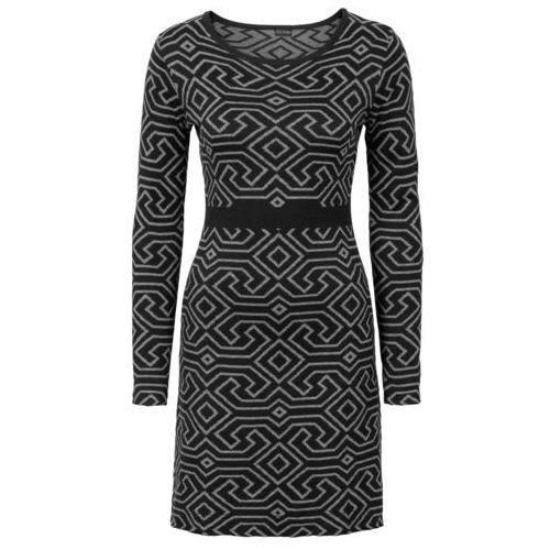 Sukienka dzianinowa bonprix czarno-szary melanż wzorzysty, kolor czarny