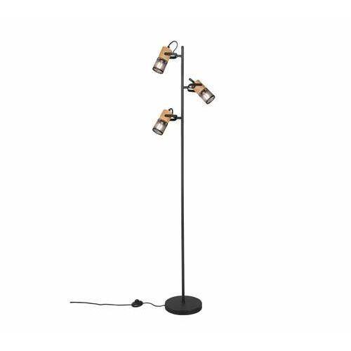 Trio Tosh 404300332 lampa stojąca podłogowa 3x15W E14 czarna/drewniana