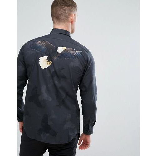 Selected Homme+ Shirt In Slim Fit With Eagle Back Digital Print - Navy