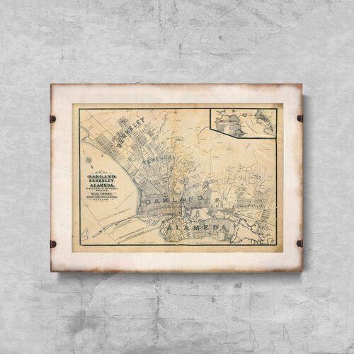 Plakat w stylu vintage plakat w stylu vintage stara mapa oakland w kalifornii marki Vintageposteria.pl