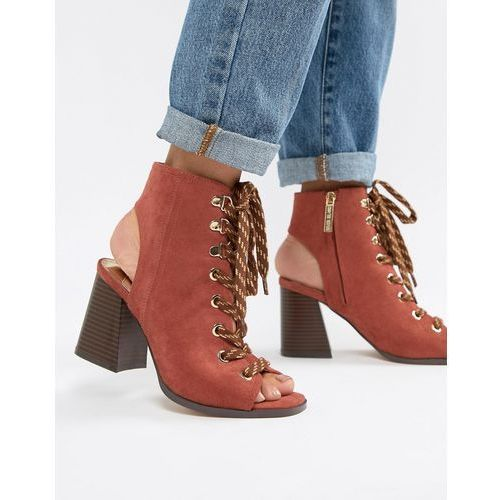 lace up heeled shoe boots in rust - red marki River island