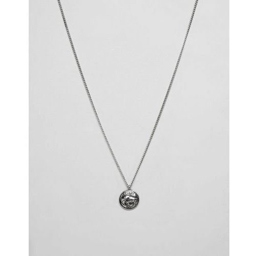 silver chain necklace with engraved coin pendant - silver marki Icon brand