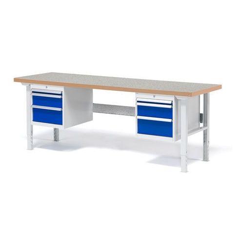 Stół roboczy Solid, zestaw z 6 szufladami, 500 kg, 2000x800 mm, winyl