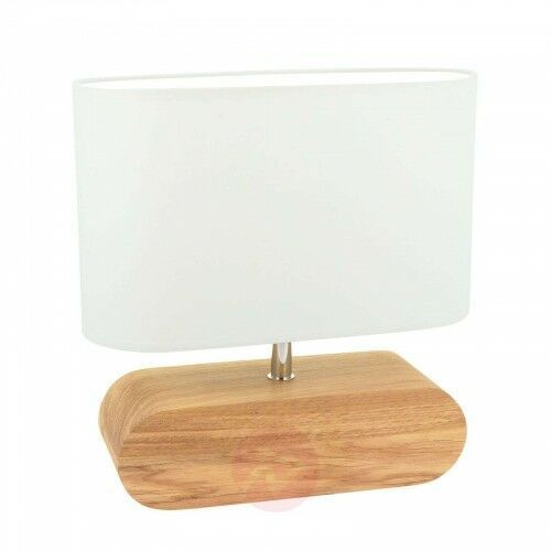 Lampa stołowa marinna dębowa podstawa, klosz biały marki Spot-light
