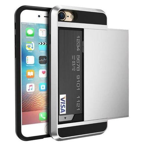 Etui typu zbroja z miejscem na kartę kredytową dla iPhone 7 - Srebrne - Srebrny \ iPhone 7, kolor szary
