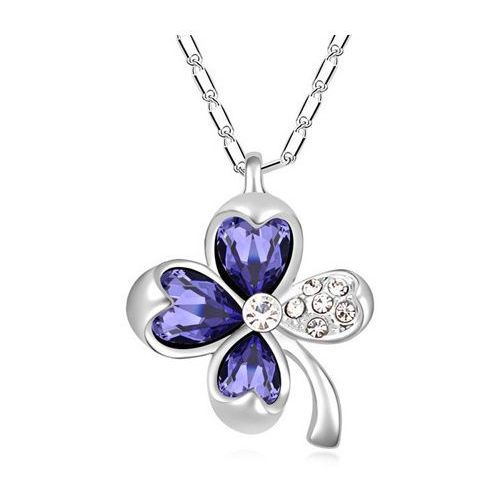 EXCLUSIVE Naszyjnik kwiat fioletowy - fioletowy, kolor fioletowy