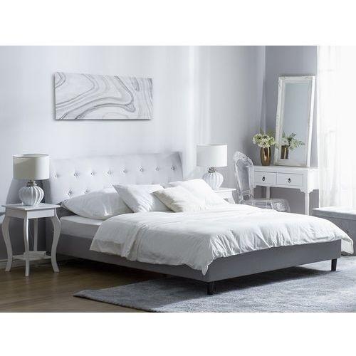 Łóżko jasnoszare tapicerowane 140 x 200 cm SAVERNE, kolor szary