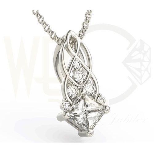 Węc - twój jubiler Wisiorek z białego złota z brylantami bpw-86b