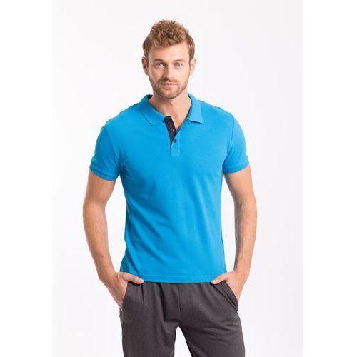 Koszulka polo męska TSM051AZ - niebieski jasny