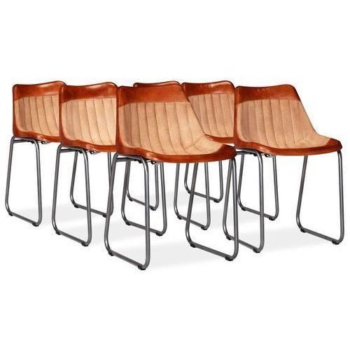 Krzesła do jadalni, 6 szt., skóra i płótno, brązowo-beżowe