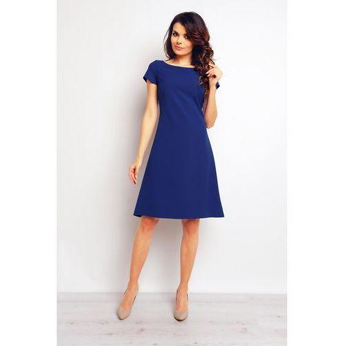 Niebieska szykowna trapezowa sukienka z rękawkiem marki Infinite you