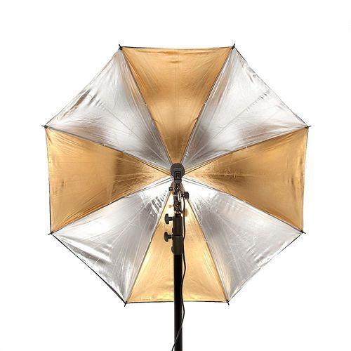 Parasolka dwuwarstwowa reflektor srebrno-złoty 84cm - sprawdź w wybranym sklepie