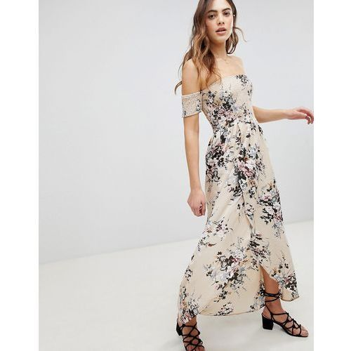 Brave Soul Eugene Bardot Shirred Maxi Dress in Floral Print - Cream
