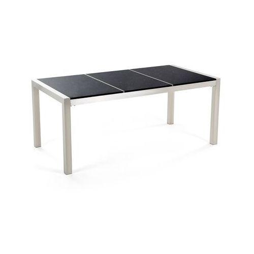 Stół ogrodowy granitowy dzielony blat 180 x 90 cm czarny GROSSETO, kolor czarny