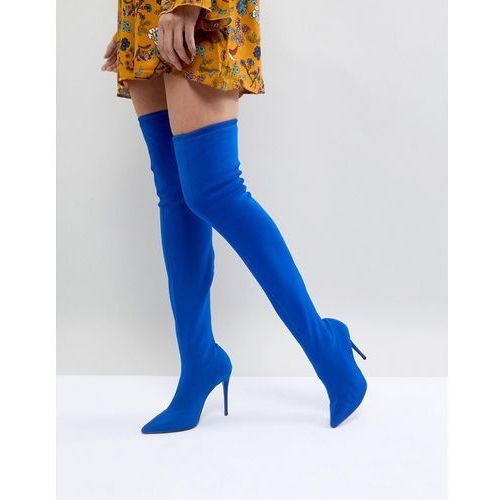 River island pointed toe heeled over the knee boots - blue