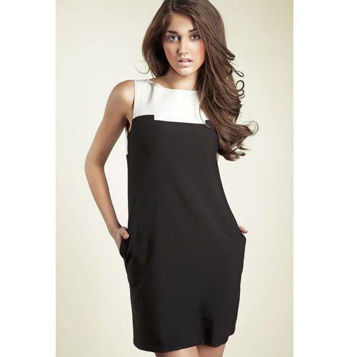 Czarna kobieca dwubarwna prosta sukienka marki Nife