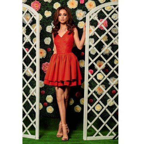 Lemoniade Wieczorowa sukienka mini z koronką l260 czerwony