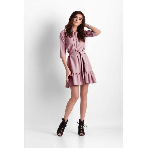 Różowa trapezowa sukienka z falbanką, Ivon, 34-40