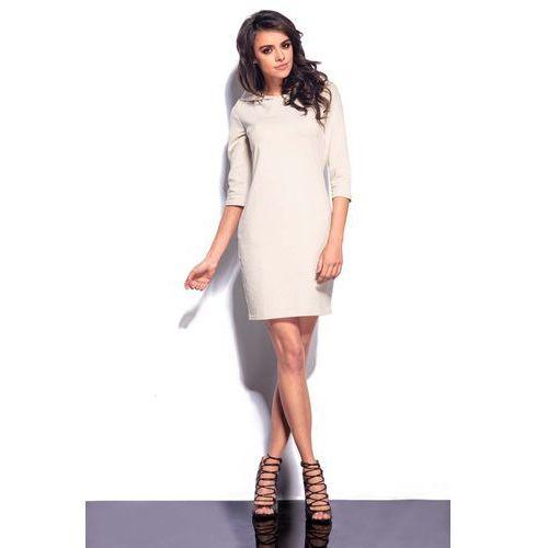 Beżowa Mini Sukienka z Kapturem, GL180cr
