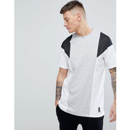 Bershka SPORT Colour Block T-Shirt In Grey And White - Multi, 1 rozmiar