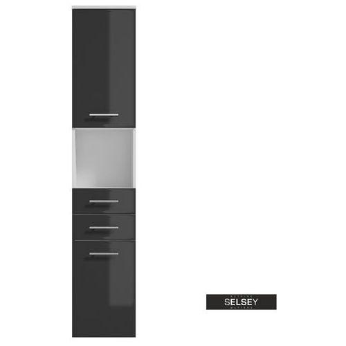 SELSEY Regał łazienkowy Cranston biały / grafit (5903025424460)