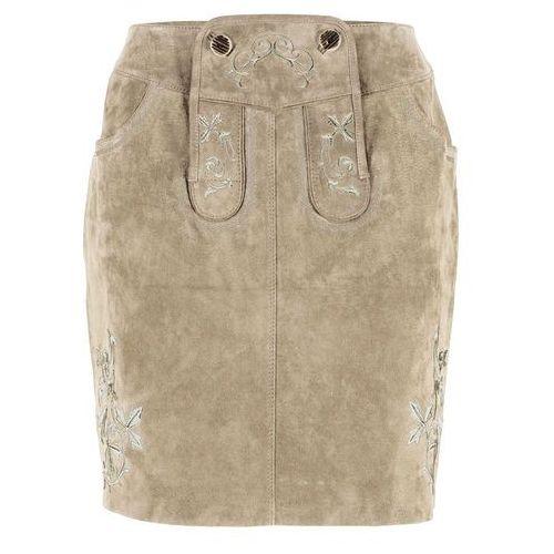 Bonprix Spódnica skórzana z haftem jasnobrązowy